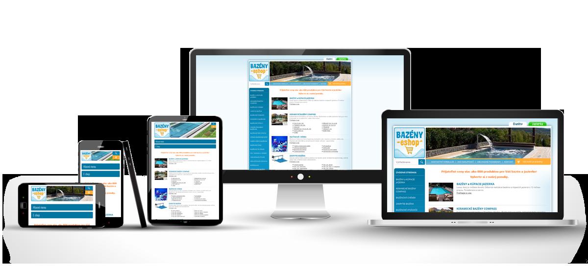 Responzívny dizajn stránky www.bazeny-eshop.sk