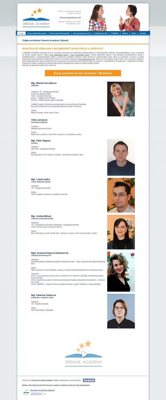 Webová prezentácia pre Dreams Academy