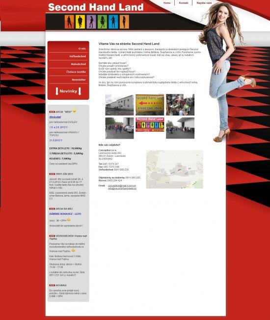 Webová prezentácia pre Second Hand Land
