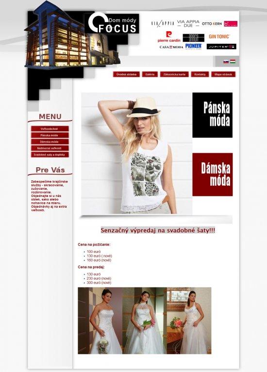 Webová prezentácia pre Dom Módy Focus