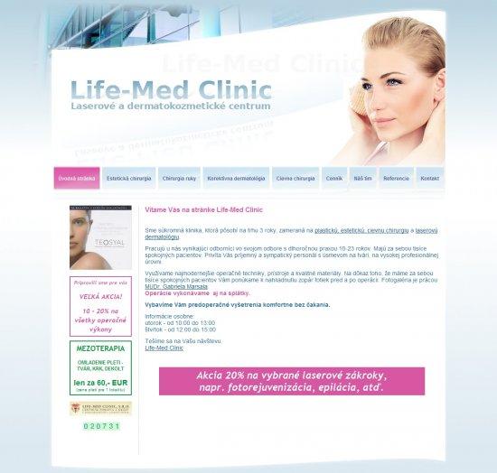 Webová prezentácia preLife-Med Clinic, s.r.o.