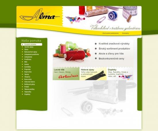 Webová prezentácia pre veľkoobchod Alma