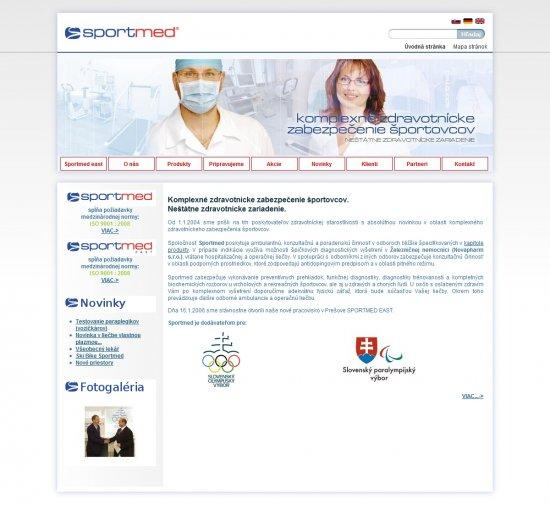 Webová prezentácia pre Sportmed, s.r.o.