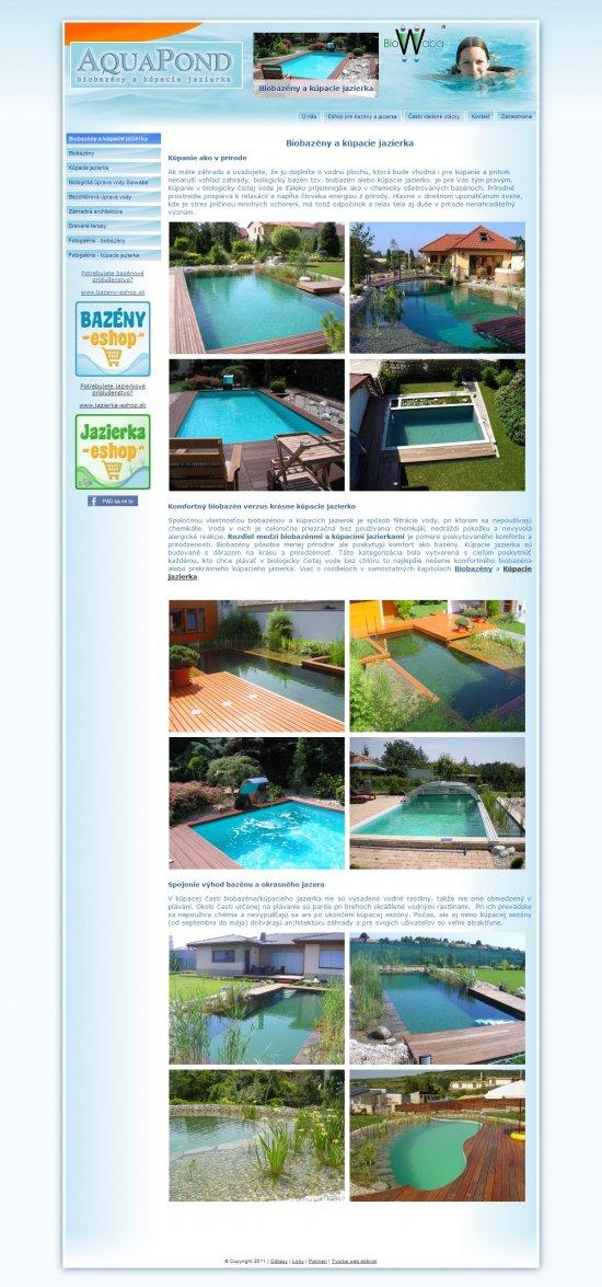 Webová prezentácia Bio-Bazeny.sk