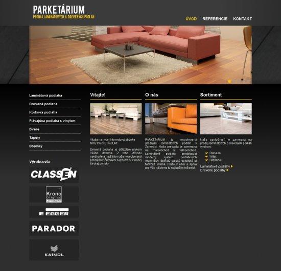Webová prezentácia pre Parketárium