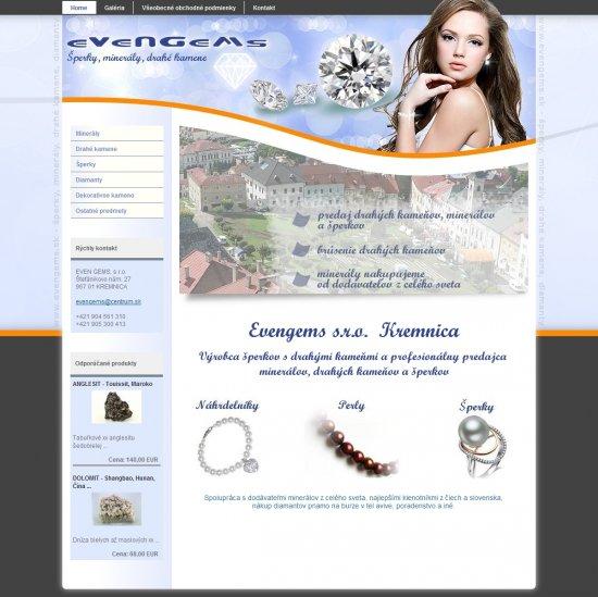 Webová prezentácia pre EVEN GEMS, s.r.o.